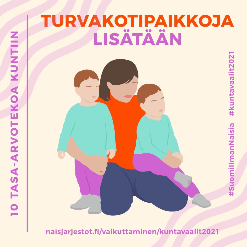 Kuvassa näkyy luonnonvalkoisella taustalla aikuinen hahmo ja kaksi lasta. Kuvassa lukee Turvakotipaikkoja lisätään.