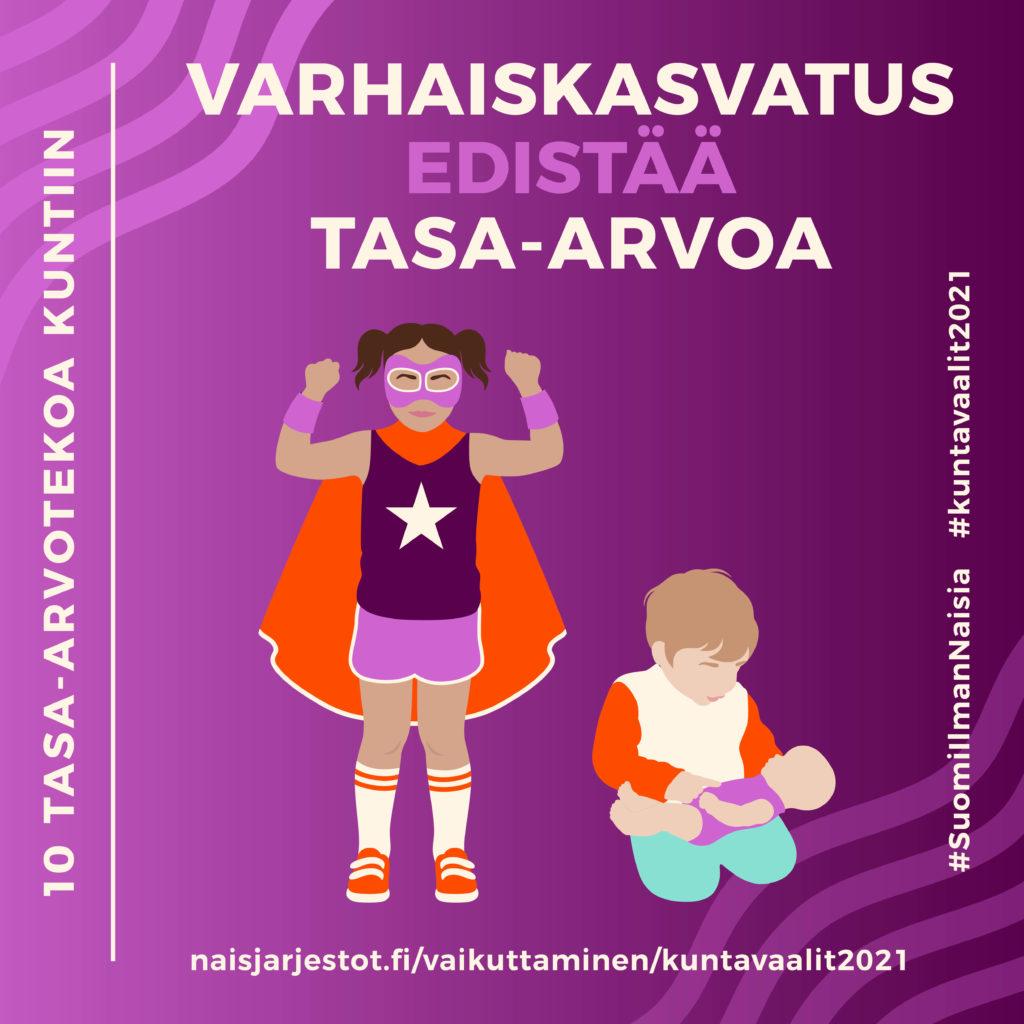 Kuvassa näkyy liilalla taustalla tyttölapsi supersankari-puku päällä ja poikalapsi leikkimässä nukella. Kuvassa lukee Varhaiskasvatus edistää tasa-arvoa.