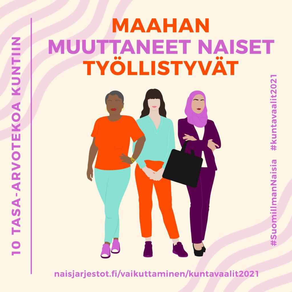 Kuvassa näkyy luonnonvalkoisella taustalla kolme naishahmoa, joista yhdellä on huivi päässä. Kuvassa lukee Maahan muuttaneet naiset työllistyvät.